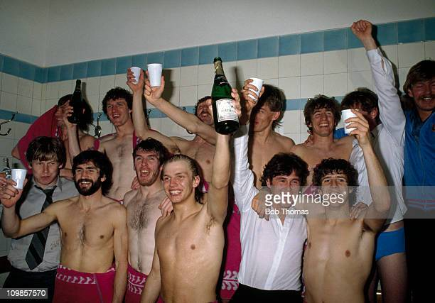 Aston Villa players celebrate in the dressingroom at Highbury after winning the First Division League Championship despite losing 20 to Arsenal on...