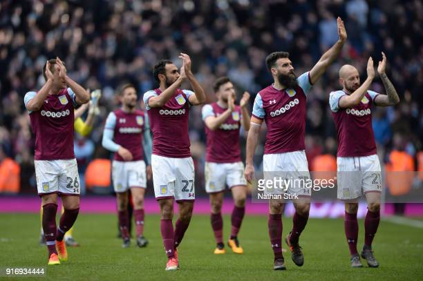 Aston Villa players clap the fans after the Sky Bet Championship match between Aston Villa and Birmingham City at Villa Park on February 11 2018 in...