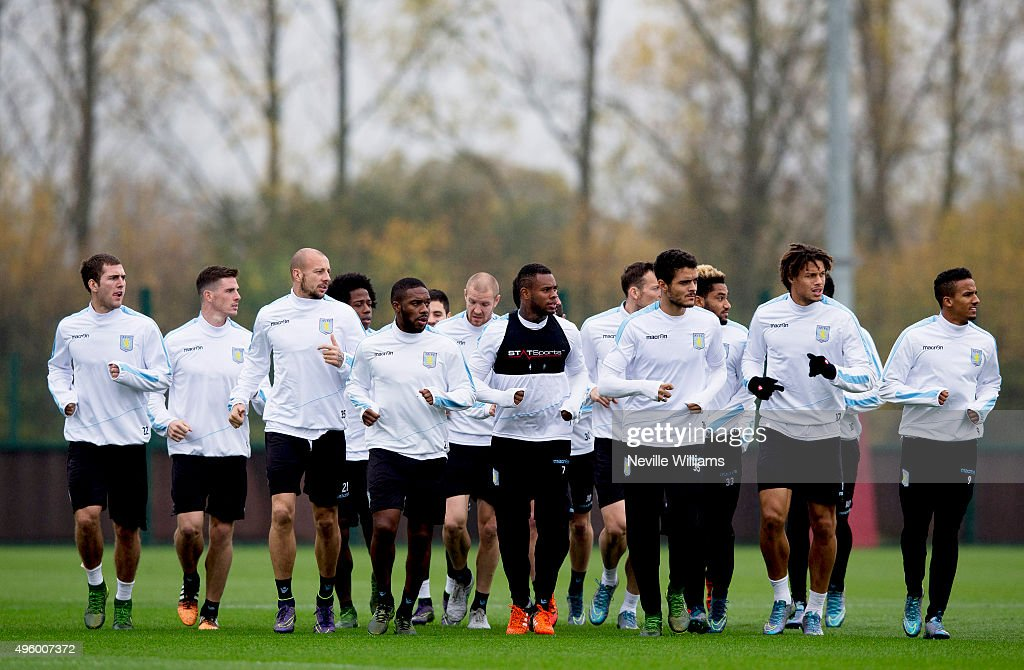 Aston Villa players during a Aston Villa training session at the club's training ground at Bodymoor Heath on November 06, 2015 in Birmingham, England.