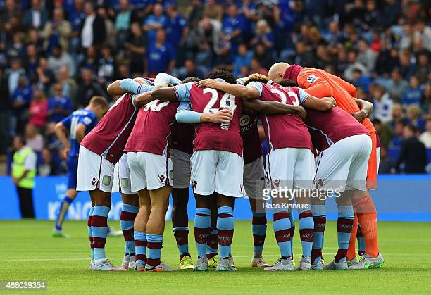 Aston Villa players huddle prior to the Barclays Premier League match between Leicester City and Aston Villa at the King Power Stadium on September...