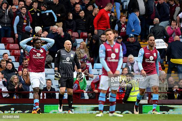 Aston Villa players look dejected during the Barclays Premier League match between Aston Villa and Southampton at Villa Park on April 23 2016 in...