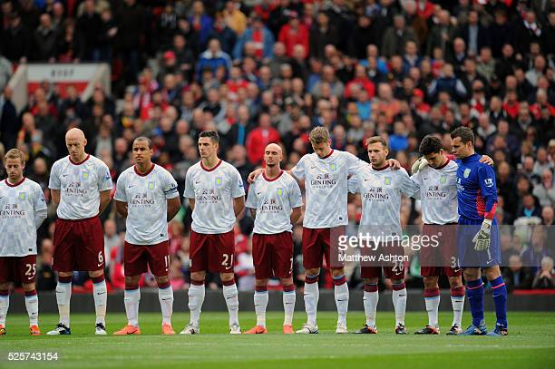 Aston Villa players pay their respects to Italian footballer Piermario Morosini who collapsed on the pitch while playing for Livorno in an Italian...