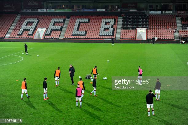 Aston Villa players warm up prior to the FA Youth Cup Fifth Round Match between AFC Bournemouth U18 and Aston Villa U18 at Vitality Stadium on...