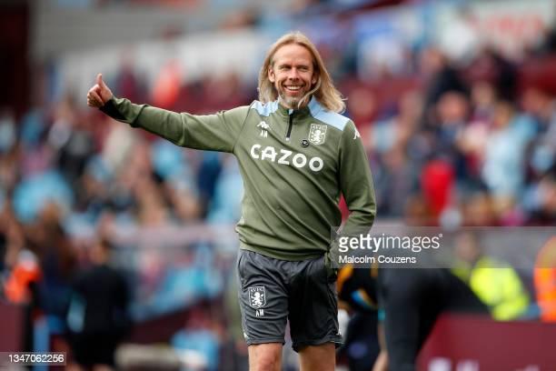 Aston Villa set-piece coach Austin McPhee reacts during the Premier League match between Aston Villa and Wolverhampton Wanderers at Villa Park on...