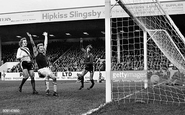 Aston Villa striker Andy Gray celebrates as the ball enters the Sheffield United net for one of Villa's five goals during their First Division match...