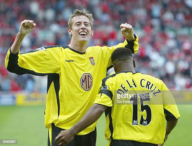 Aston Villa striker Peter Crouch celebrates after his last minute winner during the FA Barclaycard Premiership match between Middlesbrough and Aston...