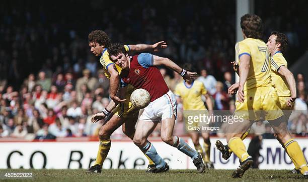 Aston Villa striker Peter Withe is challenged by David Needham of Nottingham Forest during a Division One game between Aston Villa and Nottingham...