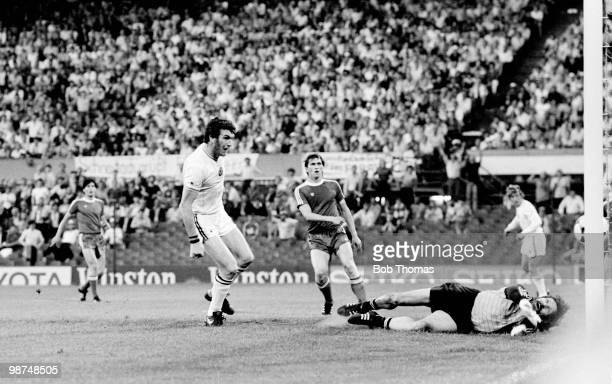 Aston Villa striker Peter Withe scores the winning goal in the European Cup Final against Bayern Munich at the De Kuip Stadium in Rotterdam 26th May...