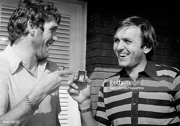 Aston Villa striker Peter Withe with goalkeeper Jimmy Rimmer who in this picture taken the day before Aston Villa began their European Cup campaign...