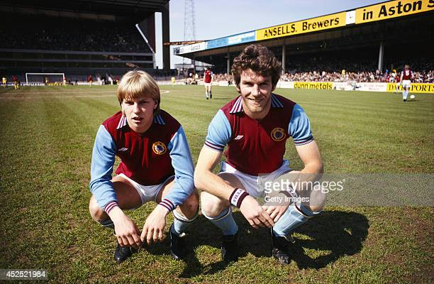 Aston Villa striking partnership Gary Shaw and Peter Withe look on before a Division One game between Aston Villa and Nottingham Forest at Villa Park...