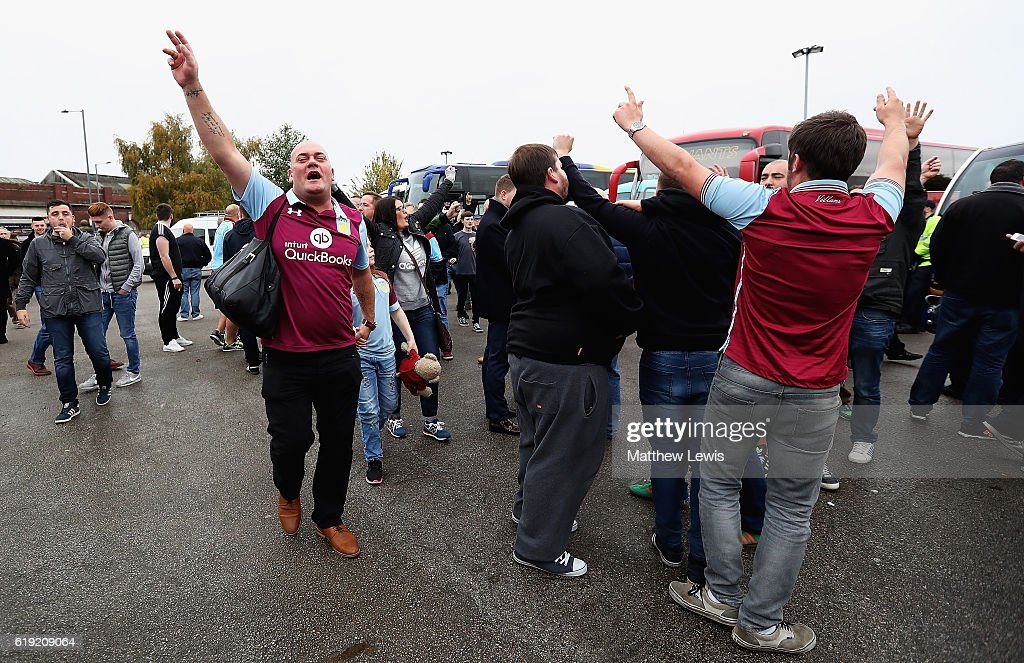 Aston Villa supporters arrive ahead of the Sky Bet Championship match between Birmingham City and Aston Villa at St Andrews (stadium) on October 30, 2016 in Birmingham, England.