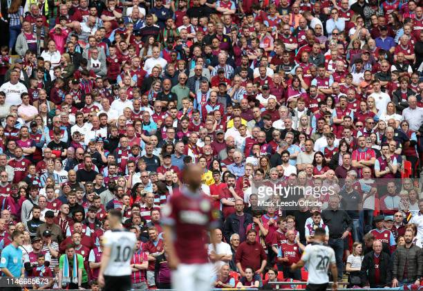Aston Villa supporters standing during the Sky Bet Championship Playoff Final match between Aston Villa and Derby County at Wembley Stadium on May 27...