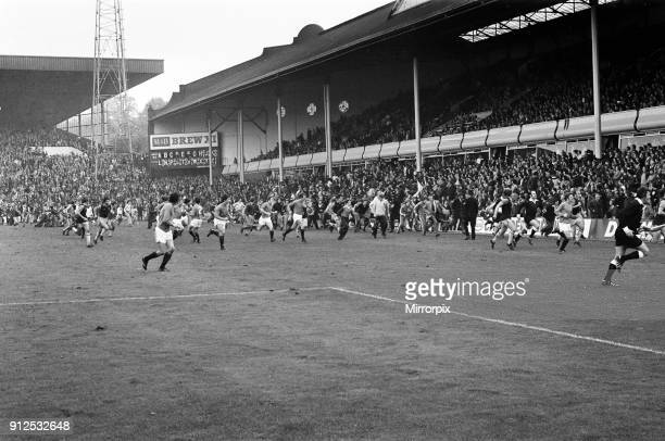 Aston Villa v Rangers match at Villa Park which was later abandoned after a pitch invasion 9th October 1976