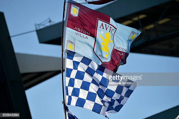 Aston Villa West Bromwich Albion flags fly in the sunshine outside of the Aston Villa ground ahead of todays fixture