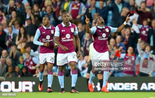Aston Villa's Aaron Tshibola celebrates scoring his sides first goal of the match