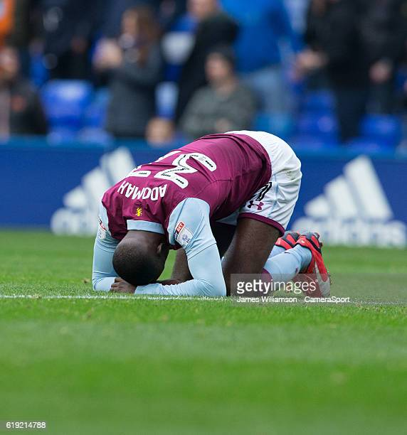 Aston Villa's Albert Adomah goes down after a collision with Birmingham City's Tomasz Kuszczak during the Sky Bet Championship match between...
