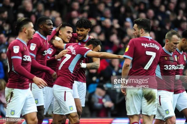 Aston Villa's Anwar Al Ghazi celebrates scoring his side's first goal of the game with team mates Aston Villa v Middlesbrough Sky Bet Championship...