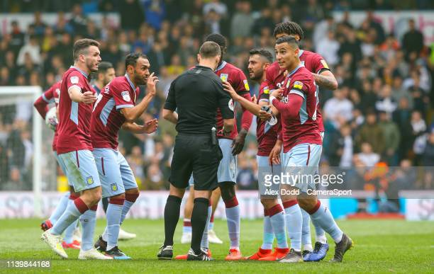 Aston Villa's Anwar El Ghazi can't believe he's been shown a red card during the Sky Bet Championship match between Leeds United and Aston Villa at...