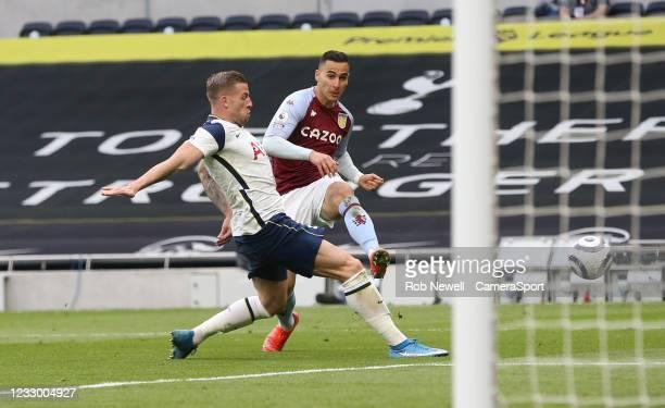Aston Villa's Anwar El Ghazi shoots under pressure from Tottenham Hotspurs Toby Alderweireld during the Premier League match between Tottenham...