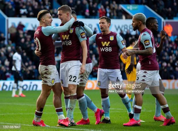 Aston Villa's Bjorn Engels celebrates scoring his side's second goal during the Premier League match between Aston Villa and Tottenham Hotspur at...