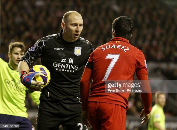 Aston Villa's Bradley Guzan exchanges words with Liverpool's Luis Suarez