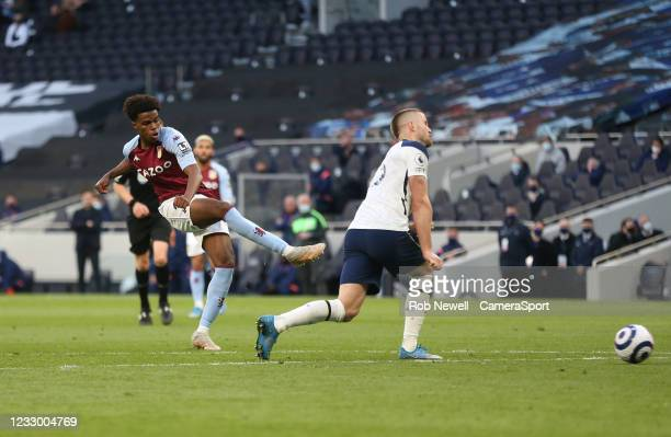 Aston Villa's Carney Chukwuemeka hits the post with a second half shot during the Premier League match between Tottenham Hotspur and Aston Villa at...