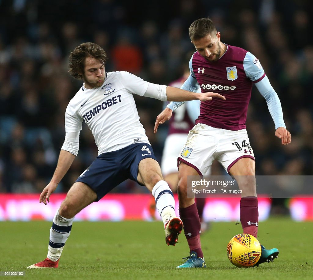 Aston Villa's Conor Hourihane (right) and Preston North End's Ben Pearson battle for the ball during the Sky Bet Championship match at Villa Park, Birmingham.