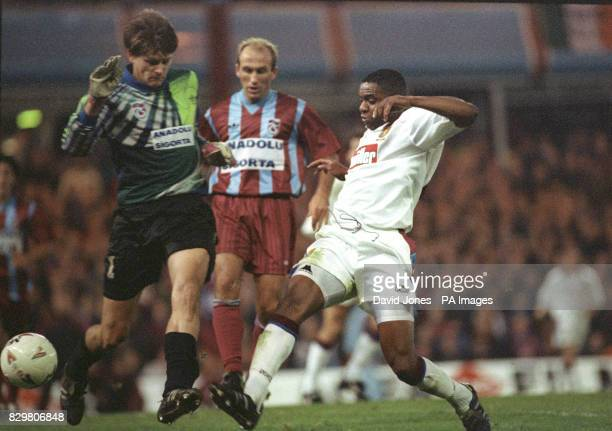 Aston Villa's Dalian Atkinson shoots for the Trabzonspor goal during their UEFA Cup match