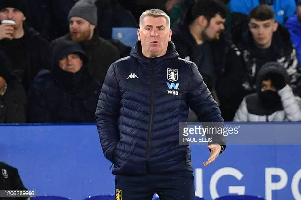 Aston Villa's English head coach Dean Smith gestures on the touchline during the English Premier League football match between Leicester City and...