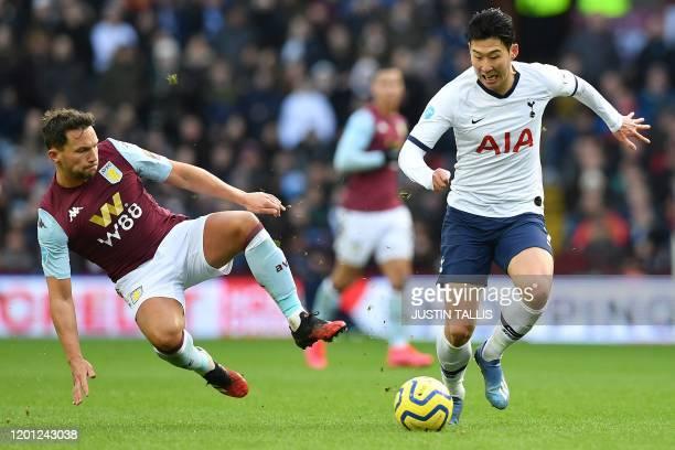 Aston Villa's English midfielder Danny Drinkwater vies with Tottenham Hotspur's South Korean striker Son HeungMin during the English Premier League...