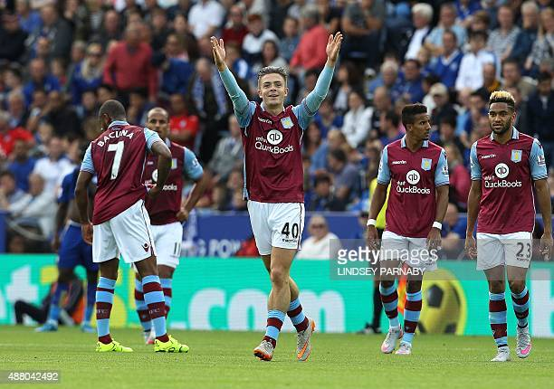 Aston Villa's English midfielder Jack Grealish celebrates after scoring the opening goal of the English Premier League football match between...