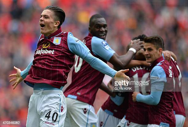 Aston Villa's English midfielder Jack Grealish celebrates Villa's second goal during the FA Cup semi-final between Aston Villa and Liverpool at...