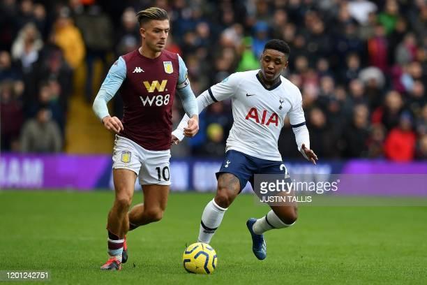 Aston Villa's English midfielder Jack Grealish vies with Tottenham Hotspur's Dutch midfielder Steven Bergwijn during the English Premier League...