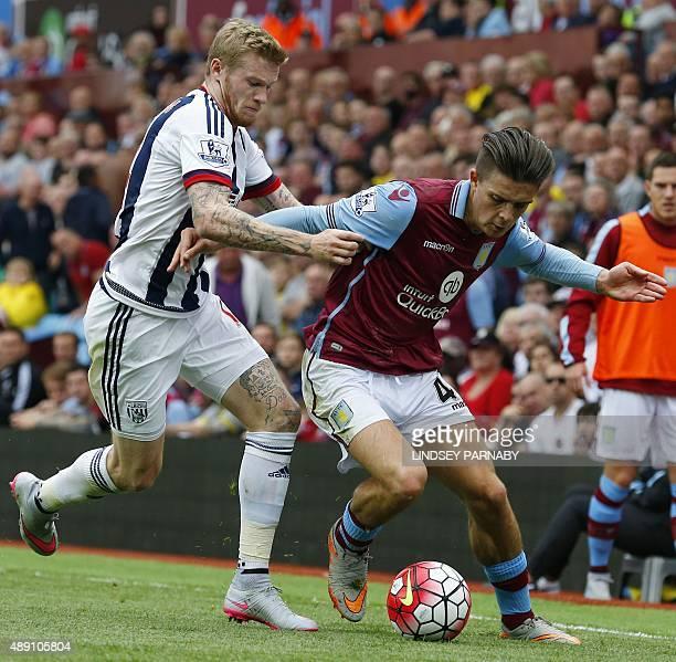 Aston Villa's English midfielder Jack Grealish vies with West Bromwich Albion's Irish midfielder James McClean during the English Premier League...