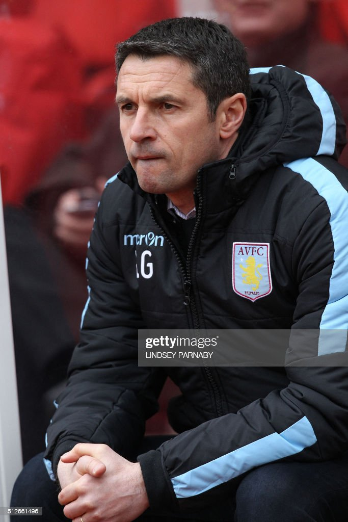 Aston Villa's French manager Remi Garde awaits kick off in the English Premier League football match between Stoke City and Aston Villa at the Britannia Stadium in Stoke-on-Trent, central England on February 27, 2016. Stoke won the game 2-1. / AFP / LINDSEY PARNABY / RESTRICTED TO EDITORIAL USE. No use with unauthorized audio, video, data, fixture lists, club/league logos or 'live' services. Online in-match use limited to 75 images, no video emulation. No use in betting, games or single club/league/player publications. /