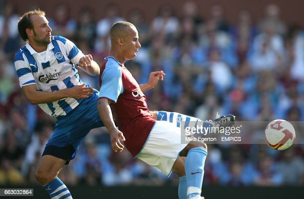 Aston Villa's Gabriel Agbonlahor and Odense BK's A Haland battle for the ball