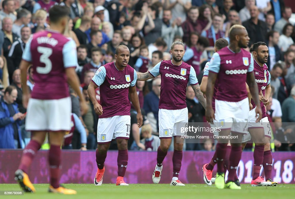 Aston Villa's Gabriel Agbonlahor celebrates scoring his side's first goal during the Sky Bet Championship match between Aston Villa and Hull City at Villa Park on August 5, 2017 in Birmingham, England.