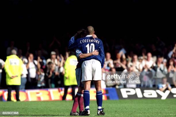 Aston Villa's Gareth Southgate hugs former teammate Stan Collymore of Leicester City