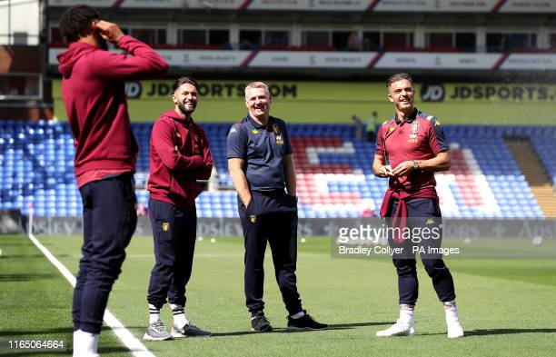 Aston Villa's Henri Lansbury manager Dean Smith and Jack Grealish during the Premier League match at Selhurst Park London