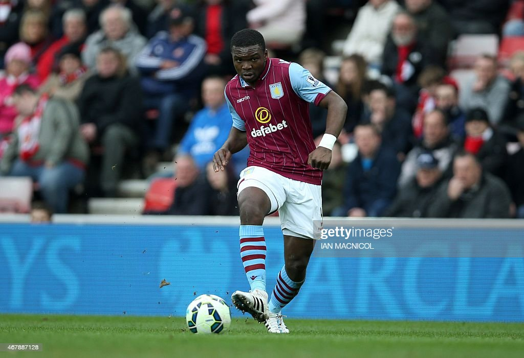 Aston Villa's Ivorian-born Danish defender Jores Okore passes the ball during the English Premier League football match between Sunderland and Aston Villa at the Stadium of Light in Sunderland, northeast England on March 14, 2015. Aston Villa won the match 0-4.