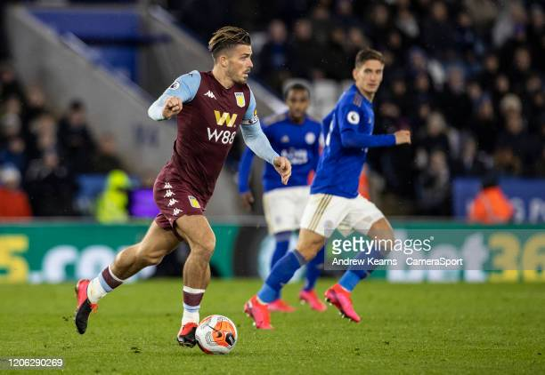 Aston Villa's Jack Grealish breaks during the Premier League match between Leicester City and Aston Villa at The King Power Stadium on March 9 2020...