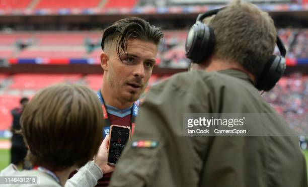 Aston Villa's Jack Grealish chats the journalists after the Sky Bet Championship Playoff Final match between Aston Villa and Derby County at Wembley...