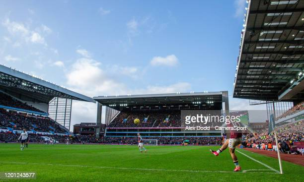Aston Villa's Jack Grealish takes a corner which results in side's equaliser during the Premier League match between Aston Villa and Tottenham...