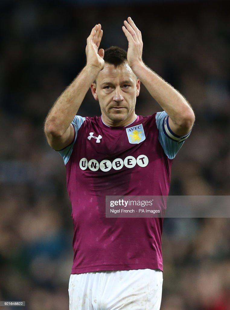Aston Villa's John Terry applauds the home supporters after the Sky Bet Championship match at Villa Park, Birmingham.