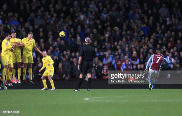 Aston Villa's Leandro Bacuna scores their first goal of the game with a freekick