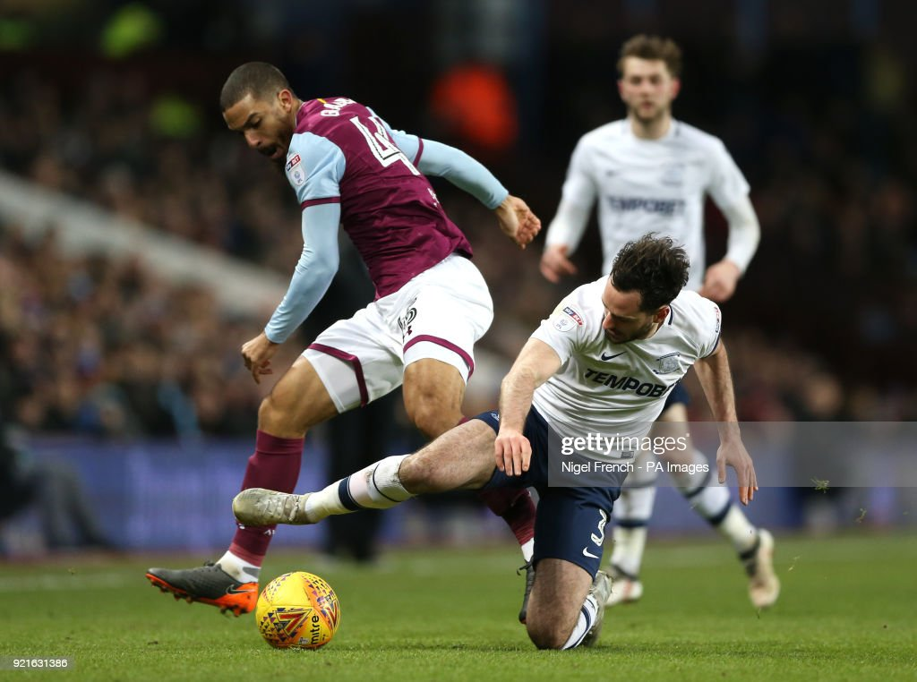 Aston Villa's Lewis Grabban (left) and Preston North End's Greg Cunningham battle for the ball during the Sky Bet Championship match at Villa Park, Birmingham.