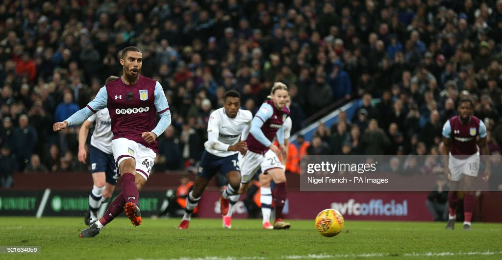 Aston Villa's Lewis Grabban scores his side's first goal of the game from the penalty spot during the Sky Bet Championship match at Villa Park, Birmingham.