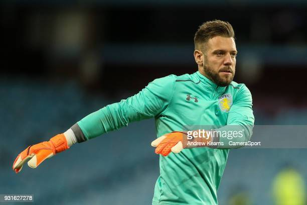 Aston Villa's Mark Bunn warming up during the Sky Bet Championship match between Aston Villa and Queens Park Rangers at Villa Park on March 13 2018...