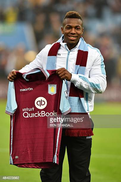 Aston Villa's new Spanish signing Adama Traore poses for pictures before the start of the English Premier League football match between Aston Villa...