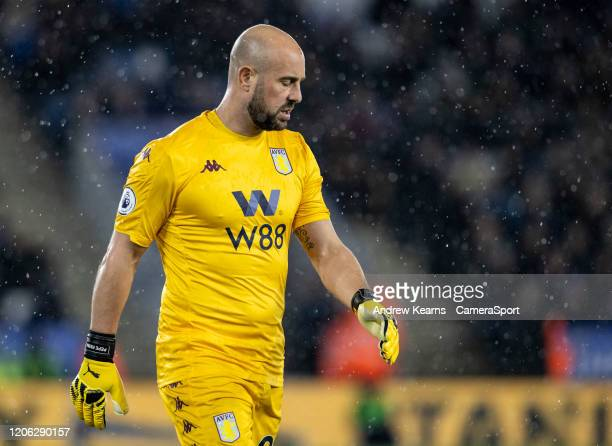 Aston Villa's Pepe Reina despairs during the Premier League match between Leicester City and Aston Villa at The King Power Stadium on March 9 2020 in...